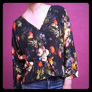 Anthro The Odells watercolor floral wrap Top